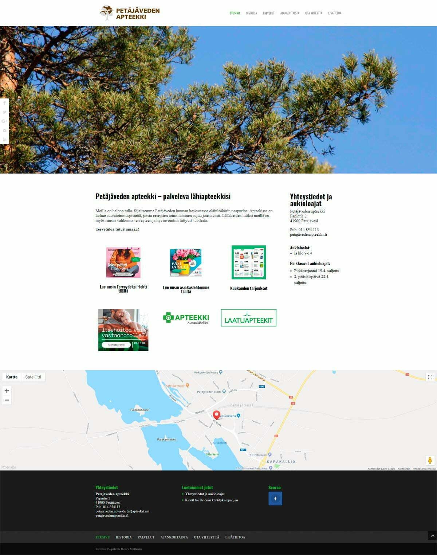 Petäjäveden apteekki -verkkosivusto, toteutus SV-palvelu Henry Moilanen