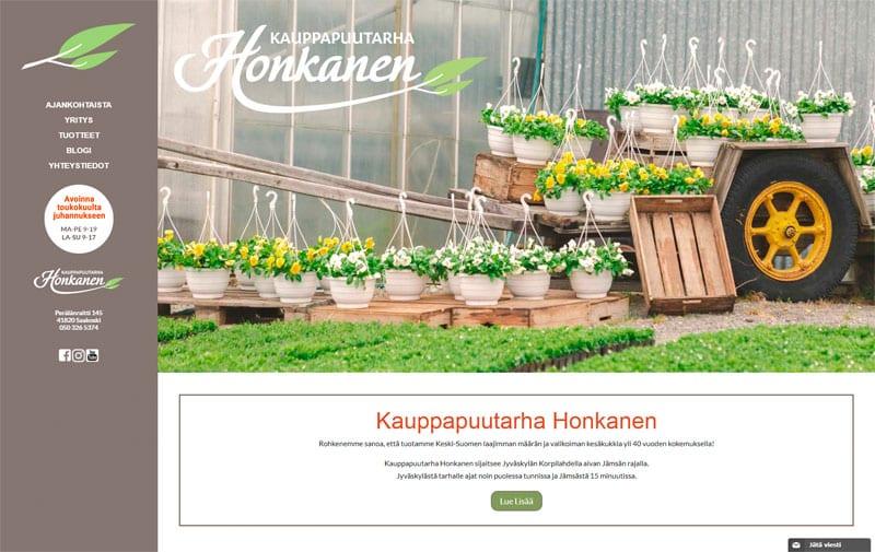 Kauppapuutarha Honkanen -verkkosivusto