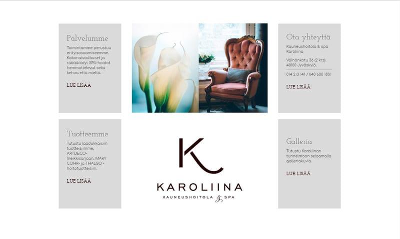 Karoliina Kauneushoitola & spa -verkkosivusto